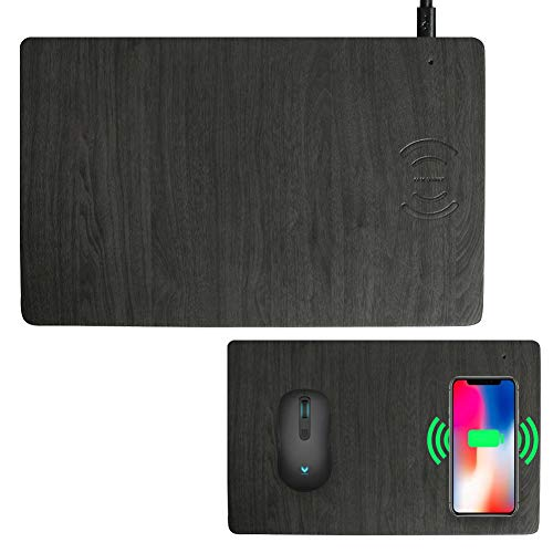 Fast Wireless Charger Mouse Pad Qi Certified Case-Friendly 10W Fast Wireless Charging Mouse Mat Compatible for iPhone 12,12Pro,11,11 Pro,XR,X,8,8 Plus,Samsung Galaxy S10/S9/S8,Note (7.5W/10) (Grey)