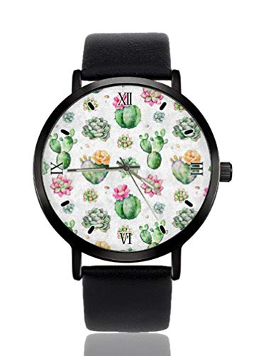 Piante variopinte piante grasse cactus orologio da polso da donna ultra sottile cassa estremamente semplice cinturino analogico donna ultra sottile orologio giapponese movimento al quarzo