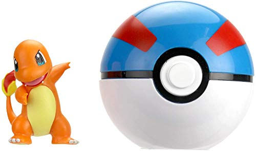 Pokemon Official Charmander Clip and Go, Comes with Charmander Action Figure and Great Ball