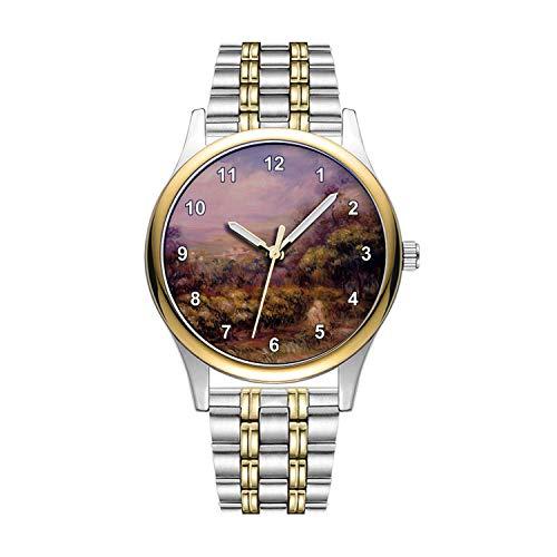 Personalisierte Minimalistische Cagnes Landschaft von Pierre-Auguste Renoir Wrist Watch Goldene Fashion wasserdichte Sportuhr