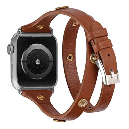 Glebo Leder Armband Kompatibel mit Apple Watch 38mm 40mm IWatch Series 6 5 4 3 2 1, Schlank Bling Double Wrap Around Leder Uhrenarmbänder Ersatzband Kompatibel für Apple Watch SE(Dunkelbraun)
