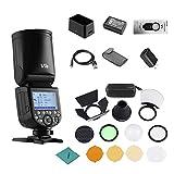 Godox V1S Flash Professional Camera Flash Speedlite Compatible with Sony a7RII a7R a58 a99 ILCE6000L a7RIII a7R3 a9 a77II a77 a350 Cameras for Studio Photography + Godox AK-R1 Pocket Flash Light Acces