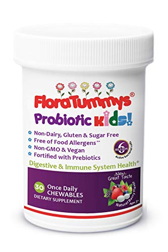 New Berry Flavor FloraTummys Kids Chewable Probiotic: Non-Dairy, Gluten Free, Sugar Free, Free of Food Allergens, Non GMO, Kosher Certified