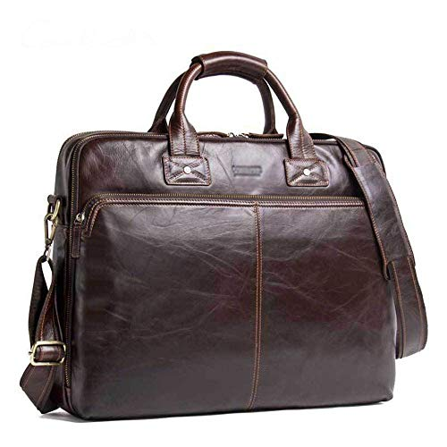 HEMFV Bolso satchel vintage hecho a mano Cartera for hombre de cuero de grano completo for computadora portátil Bolsa de mensajero de negocios Satchel Bolso de hombro grande y genuino Bolso for comput