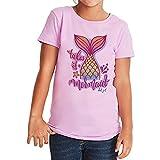 Del Sol Camiseta de manga corta para jóvenes con diseño de sirena. Cambia de rosa a colores vibrantes en el sol. 100% algodón peinado, hilado en anillo, manga corta, talla YL