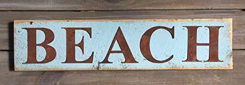 Evan332Eddie Landhausstil Strandschild mit Blech-Buchstaben auf recyceltem Echtholz im Used-Look, Minzgrün