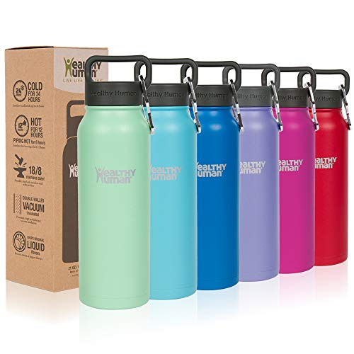 Healthy Human Water Bottles, BPA Free Sports Travel Stainless Steel Insulated Water Bottle Stein 16oz seamist