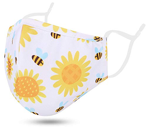 Kids Childrens Cloth Face Madks Reusable Washable with Designs for Boys Girls, 2 Layers Child Madks with Adjustable Earloops and Nose Wire, Bee Flower / 2-5T
