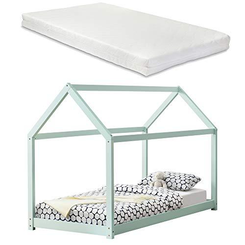 [en.casa] Kinderbett mit Matratze 90x200cm Mint Holz Haus Design Kiefernholz Bett Holzbett Hausbett Kaltschaummatratze Öko-Tex Standard 100 Allergikergeeignet Atmungsaktiv