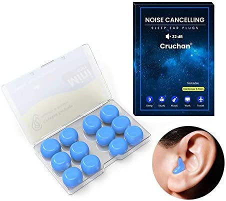 2021 New Version Ear Plugs, for Sleeping Noise Canceling, Cruchan 6 Pairs Soft Reusable Moldable Silicone Earplugs, Great for Snoring, Swimming, Travel, Concerts, Work, Studying, Loud Noise(Blue)