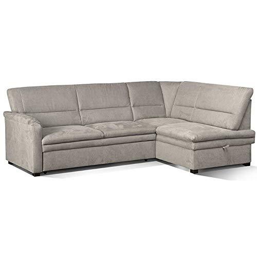 CAVADORE Ecksofa Pisoo / L-Sofa mit Federkern / Ottomane rechts / 245 x 89 x 161 / beige/grau