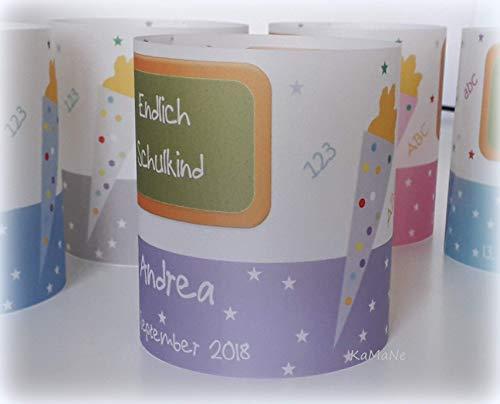 5x Tischlichter Windlichter zur Einschulung 1. Schultag Tischdeko Tischlicht lila