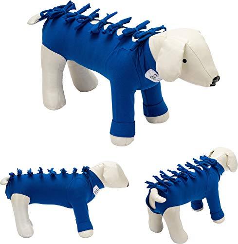 Na de operatie lichaamspak voor honden en katten; het beschermt wonden en verbanden, garandeert hygiëne en netheid, waardoor bewegingsvrijheid aan het dier. Model 011.25 - Buik, voorgevormde thorax en voorpoten, XXXS / thorax for 29 to 34 cm, Blauw