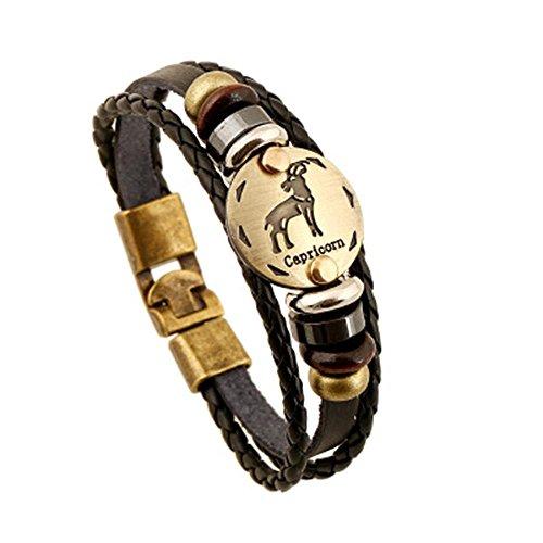 Soleebee Schmuck Herren Damen Armband,Tierkreis Sternzeichen Charms Druckknopf Größen Armreif Büffelleder Legierung Schwarz (Steinbock)