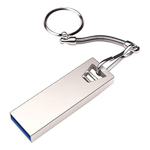 2TB USB Flash Drive, USB Stick Thumb Drive, Wasserdicht USB Memory Stick mit Schlüsselanhänger, U Disk Photo Stick für Computer Auto Büro (Silber)