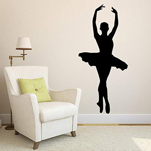 Ajcwhml Bailarina de Ballet Silueta Desmontable Vinilo Pared Art Deco Chica habitación Bailarina Estudio de Danza 30 * 67 cm