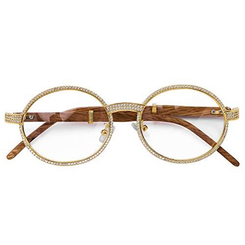 occhiali lenti trasparenti donna LILIMO Uomini vetri di Modo incorniciano Le Donne degli Occhiali Rotondi Lenti Trasparenti Occhiali Fuori ghiacciato zirconi Hip Hop Rock Occhiali da Sole