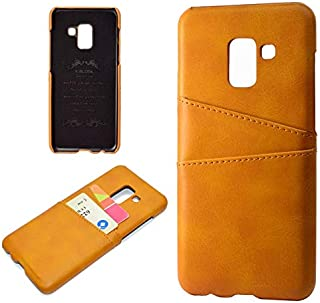 Protective Case Compatible with Samsung Premium PU Leather Wallet Anti-Scratch Protective Back Case with Card Slots Compatible Samsung Galaxy A8 (2018) Phone case (Color : Khaki)
