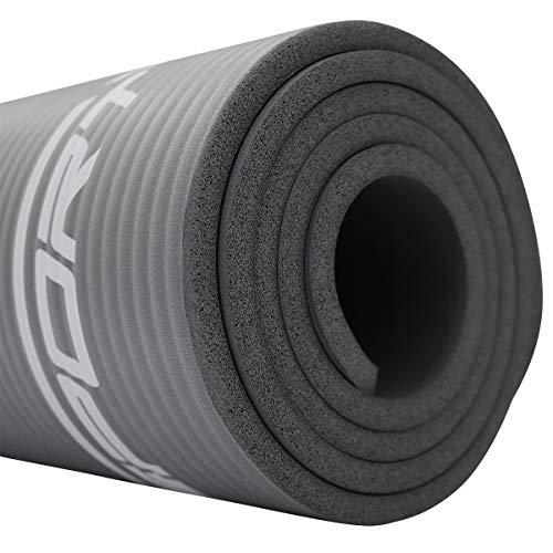 SportVida Yogamatte Fitnessmatte für Yoga Pilates Gymnastik   Schaumstoff NBR   180 x 60 x 1 cm   Isomatte für Camping Zelt (Grau)