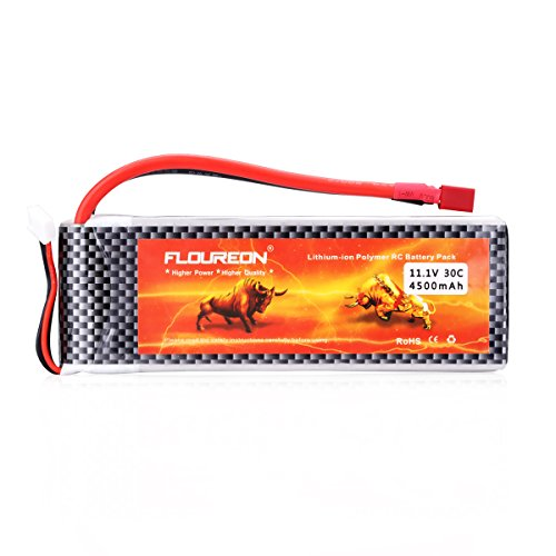 Floureon 11.1V 4500mAh High Power 3S 30C Lipo Battery with Dean-Style T Connector for RC Helicopter Hobby Drone and FPV (5.59x1.89x0.94 Inch)