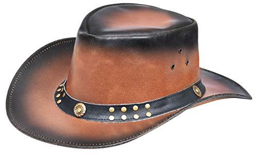 Australian Smoke Western Style Cowboy Outback Real Leather Aussie Bush Hat XL Brown