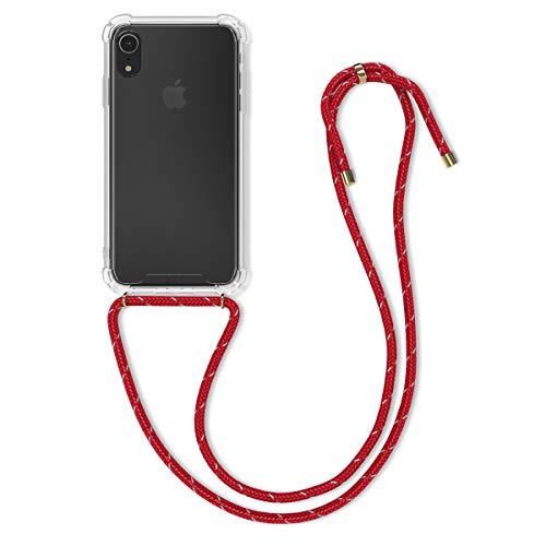 kwmobile Carcasa con Cuerda Compatible con Apple iPhone XR - Funda Transparente de TPU con Cuerda para Colgar en el Cuello