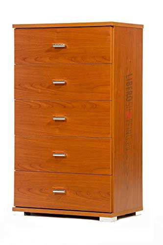 Mobile Cassettiera in legno con 5 CASSETTI per camera da letto soggiorno L.53 x P.33 x H.91 (Ciliegio)