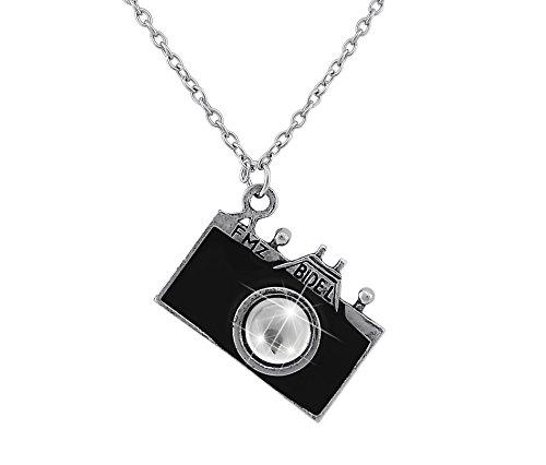 Hanessa Damen-Schmuck Witzige Halskette Kamera Anhänger Fotoapperat in Schwarz Kristall Linse Geschenk zum Valentinstag für die Frau/Freundin