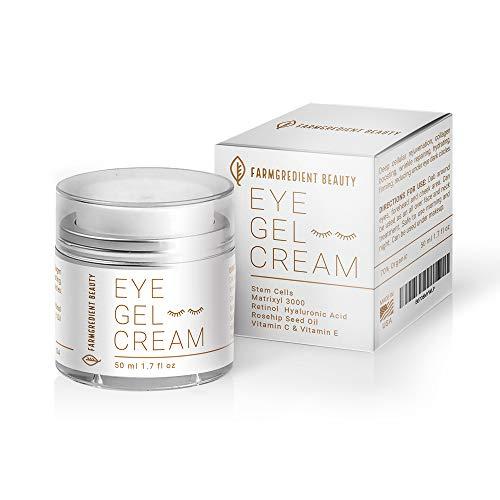 Anti-Aging Under & Around Eye Gel Cream for Men & Women with Rosehip Seed Oil, Vitamin C, E, Peptides, Stem Cell & Hyaluronic Acid | Depuffing Eye Firming Retinol & Collagen Eye Cream - 1.7 fl. Oz - A