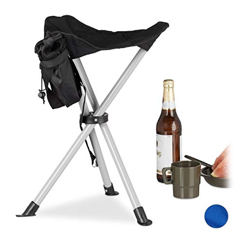 Relaxdays 3-Bein Hocker, 40cm Sitzhöhe, rückenfrei Stuhl, für den Garten, Camping, Schwarz