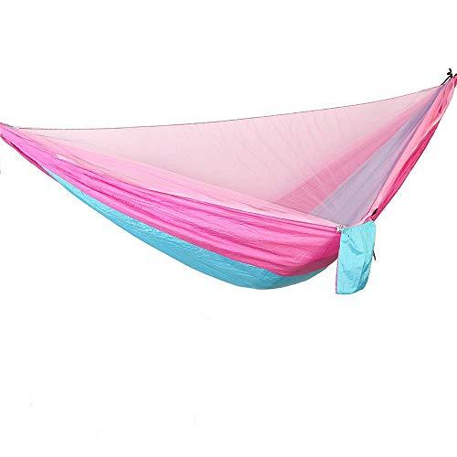 Bwiv Amaca da Campeggio Con Zanzariera Portatile Ultraleggero Amaca Outdoor Paracadute Nylon 290x140cm Portata massima 200 kg Per Escursionismo Backpacking Viaggi Rosa e Blu