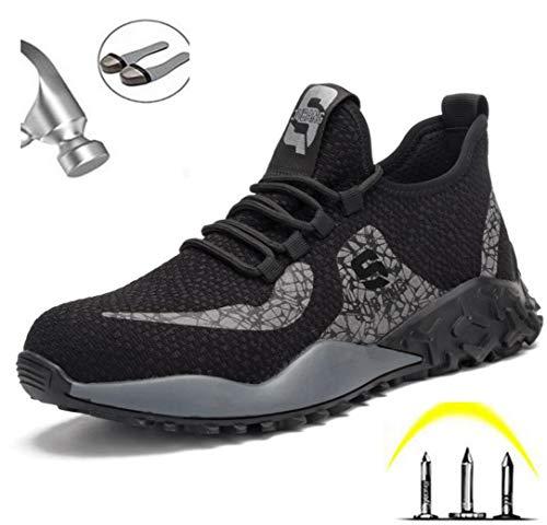 ZYLL Zapatos indestructibles Calzado Hombre de Trabajo con Puntera de Acero del Casquillo a Prueba de pinchazos Botas de Seguridad Ligero y Transpirable Zapatillas de Deporte,Negro,43