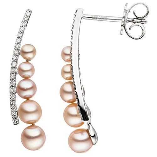 JOBO Damen-Ohrhänger aus 585 Weißgold mit 10 rosa Süßwasser Perlen und 36 Diamanten