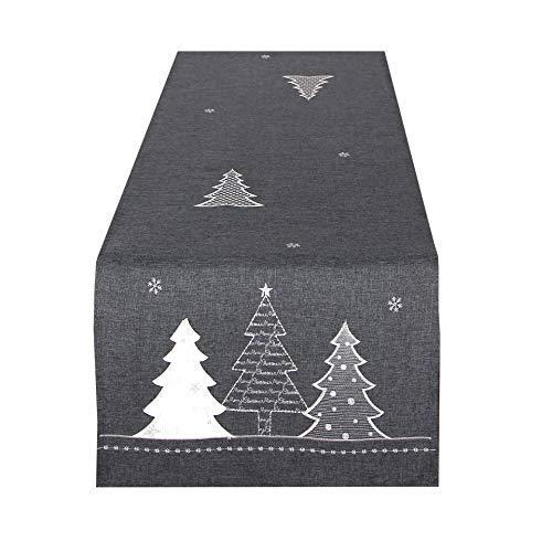 Tischläufer WINTERWALD grau, 40x140 cm, Moderne Tischdecke zu Weihnachten