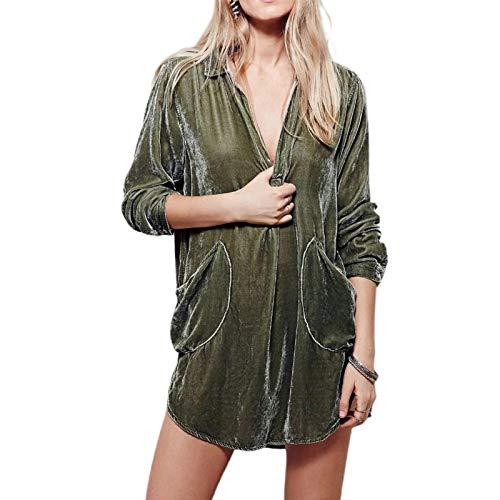 Xploit Velvet Shirt Gold Velvet Shirt Kleid Langärmliges Rockkleid Mit V-Ausschnitt Trendy Gold Velvet Shirt Rock, Lässig Und Einfach Zu Kombinieren Für Frühling, Herbst Und Winter