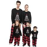Matching Family Christmas Pajamas Set,Long Sleeve T-Shirt+Plaid Long Pants PJS Set Sleepwear for Dad Mom Kids(Women/Medium)