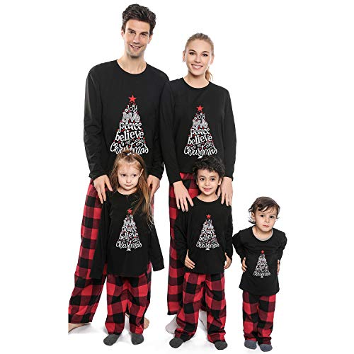 Matching Family Christmas Pajamas Set,Long Sleeve T-Shirt+Plaid Long Pants PJS Set Sleepwear for Dad Mom Kids(Kids/8-10T)