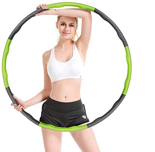 Hula Hoops - Aro de fitness plegable con peso de 8 secciones, desmontable, ajustable, ancho profesional, con regla de cintura, color verde y gris