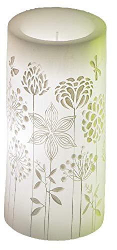 dekojohnson LED echte wax kaars wit 8 x 14 cm bloem kaars met beweegbare vlam warm wit timerfunctie decoratief idee