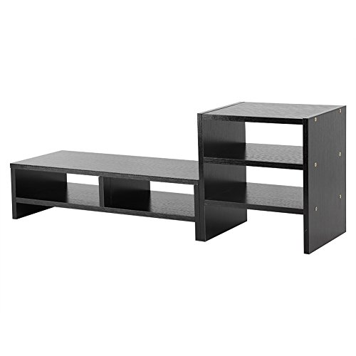 Computer Monitor Riser, Multifunctional Computer Laptop Monitor Riser TV Stand Desktop Stands Wooden Storage Organizer + 3-Layer Shelf (Black Walnut)