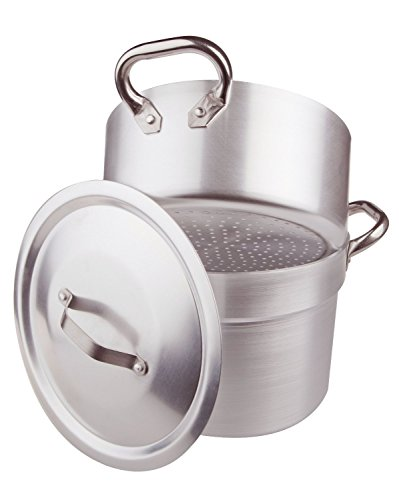 Pentole Agnelli Kochtopf cuociverdure und Dampfgarer Garer mit Topf für Kochfeld Dampfreiniger Dicke 3mm komplett mit Deckel und Zwei Griffe Edelstahl 36 cm
