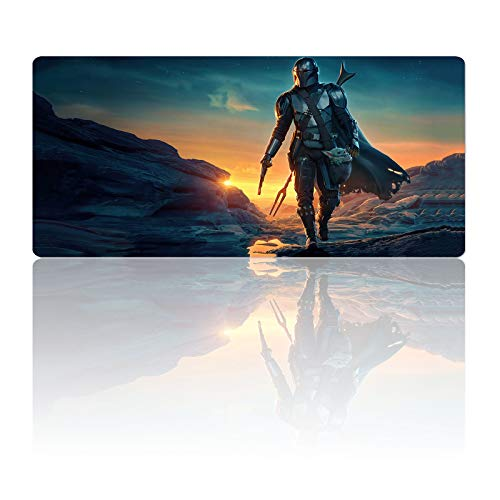 Large Gaming Mouse Pad Mandalorians Babyoda Grogu,Mousepad with Stitched Edges & Non-Slip Rubber Base-Laptop Soft Desk Pad-Computer Keyboard and Mice Combo Pads Mouse Mat 15.7X35.4