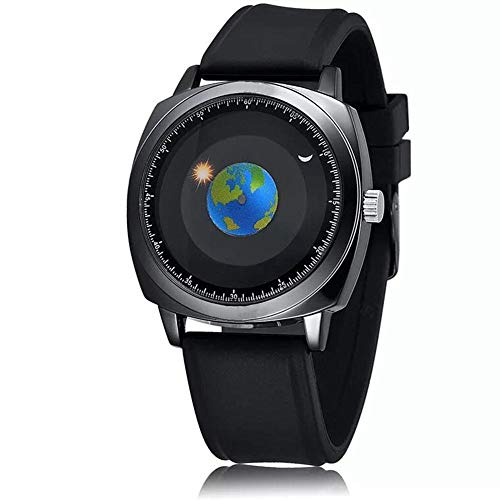 MINILUJIA 50M Waterproof Men World Map Watches Travel The World Watch Classic Creative Earth Globe Moon Sun Rotating Moving Eye-catching Personalized Cool Unique Mens Watches Silicone Black Strap