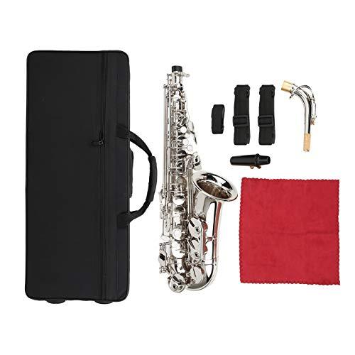 Sassofono contralto professionale in ottone mib Sassofono contralto in mi bemolle con accessori per bocchino Attrezzatura per strumenti musicali(Argento)