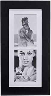 Malden 5x7 2-Opening Matted Collage Picture Frame - Displays Two 5x7 Pictures - Black