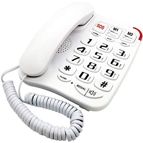 KerLiTar K-P045W Amplified Landline Phones for Seniors with Emergency Large Numbers Corded Phones for Elderly Big Button Picture Phone Corded Speakerphone Wall Desk Telephone