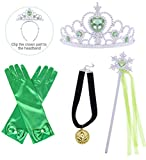HenzWorld Green Princess Dress Up Jewelry Accessories Gloves Black Necklace Costume Role Pretend Cosplay Party Presents for Little Kids Girls Children Age 1-14 Years