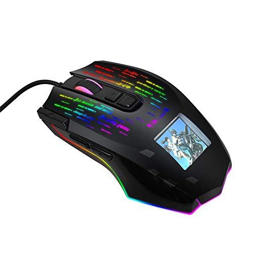 Dilwe1 Gaming Mouse, 1000/2000/3000/4000/6000/10000 Einstellbarer DPI-Bildschirm RGB-kabelgebundene tragbare Mobile Mäuse Ergonomische Esport-Maus für Winde 2000/XP/Win7/Win8/Win10/OS