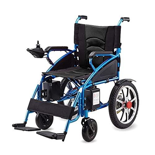 Silla de Ruedas eléctrica Plegable, Silla de Ruedas eléctrica Ayuda de Movilidad Personal Portátil Ligero Conmutación Manual/eléctrica Batería Dual para discapacitados