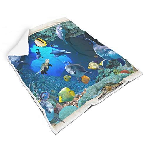 TengmiuXin Blauer Ozean-Seefisch Thermisch Bunt weiche Decke für Couch-Schlafsofa Nicht fusseln für Kinder Familienstil White 150x200cm